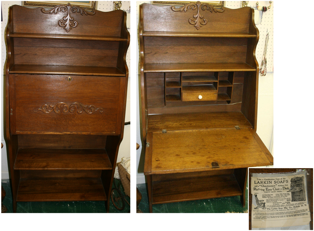 Larkin Oak Las Writing Desk Complete With The Original Lock Key And Advertisement This Piece Came From An Estate Owner Here In